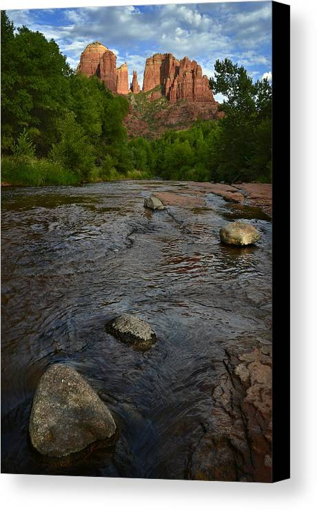 Cathedral Canvas Print featuring the photograph Red River Crossing Under Cathedral Rock by Dave Dilli