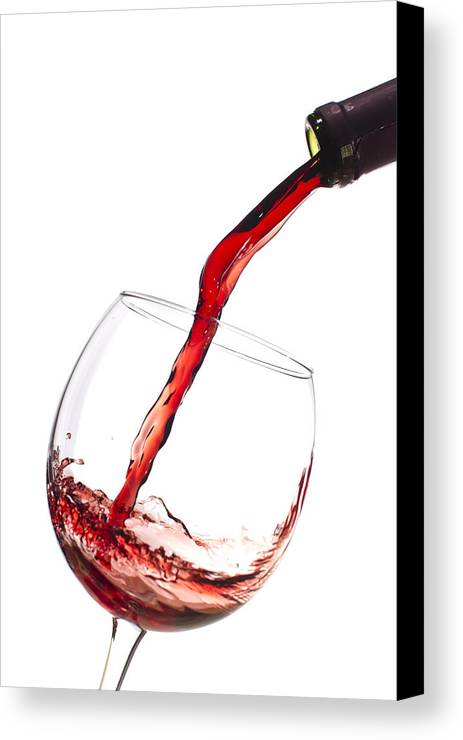 Red Wine Pouring Into Wineglass Canvas Print featuring the photograph Red Wine Pouring Into Wineglass Splash by Dustin K Ryan