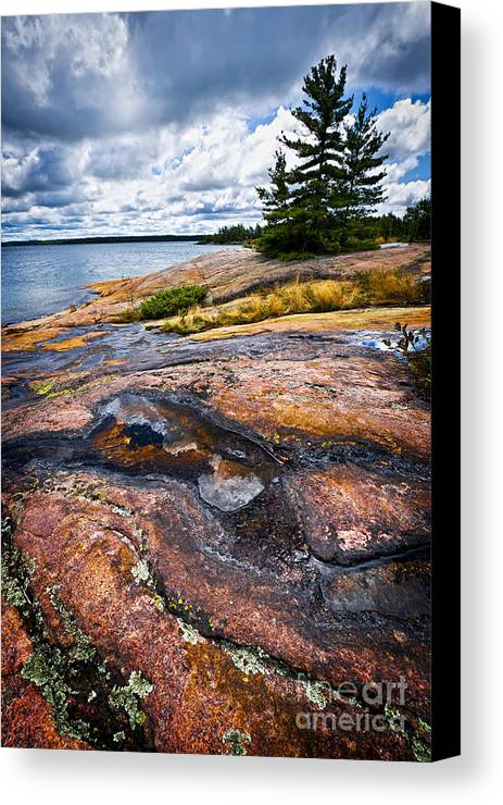 Georgian Canvas Print featuring the photograph Rocky Shore Of Georgian Bay by Elena Elisseeva
