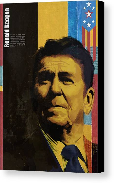 Ronald Reagan Canvas Print featuring the painting Ronald Reagan by Corporate Art Task Force