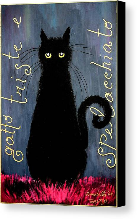 Cat Canvas Print featuring the painting Sad And Ruffled Cat by Donatella Muggianu