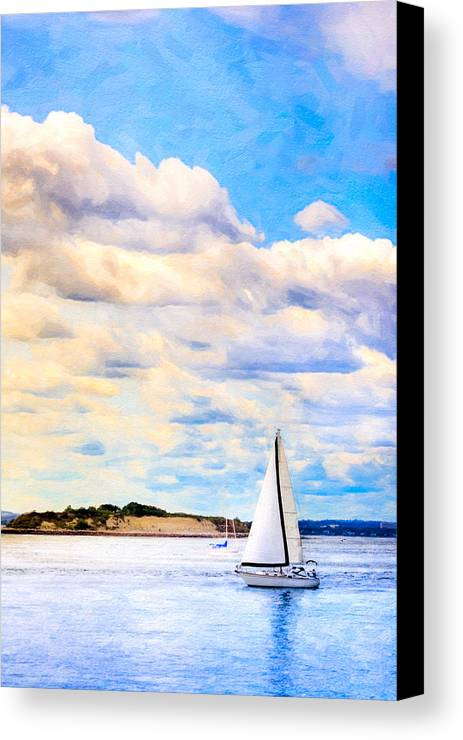 Boston Harbor Canvas Print featuring the photograph Sailing On A Beautiful Day In Boston Harbor by Mark E Tisdale
