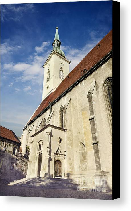 Bratislava Canvas Print featuring the pyrography Saint Martins Cathedral by Jelena Jovanovic