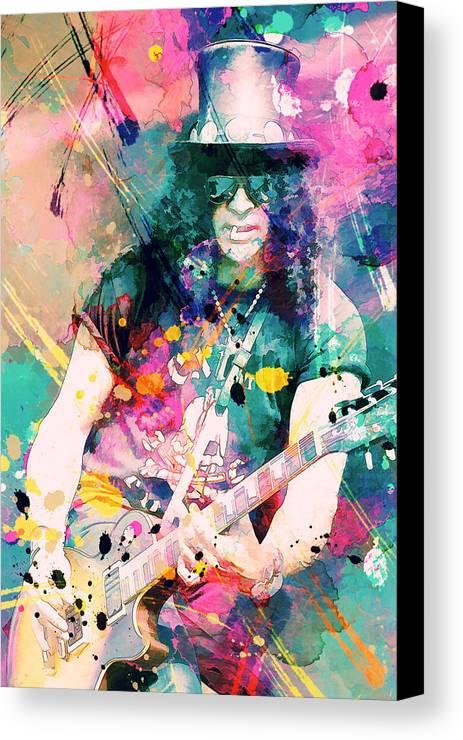 Slash Canvas Print featuring the painting Slash by Rosalina Atanasova