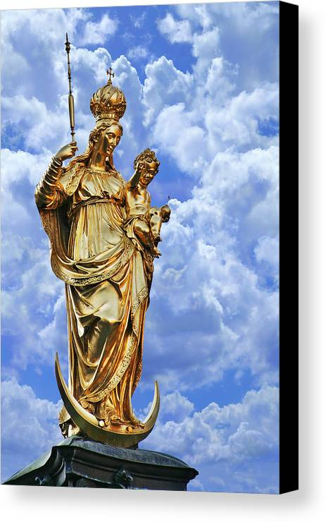 Marys Canvas Print featuring the photograph St Mary's Column Marienplatz Munich by Christine Till