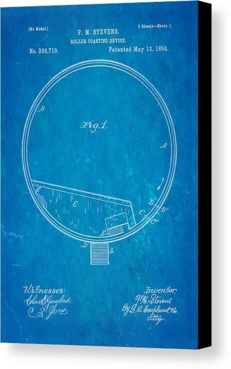 Engineer Canvas Print featuring the photograph Stevens Roller Coaster Patent Art 1884 Blueprint by Ian Monk