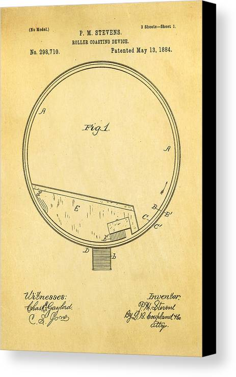 Engineer Canvas Print featuring the photograph Stevens Roller Coaster Patent Art 1884 by Ian Monk