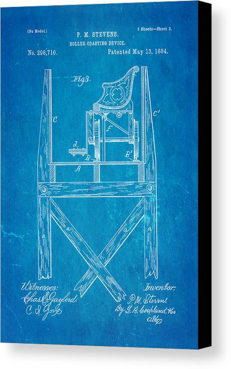 Engineer Canvas Print featuring the photograph Stevens Roller Coaster Patent Art 3 1884 Blueprint by Ian Monk