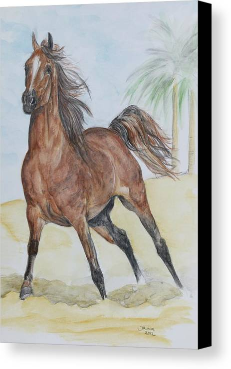 Horse Original Painting Canvas Print featuring the painting Stretching Legs by Janina Suuronen