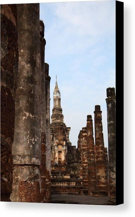 Sukhothai Canvas Print featuring the photograph Sukhothai Historical Park - Sukhothai Thailand - 011320 by DC Photographer