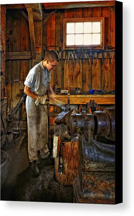 Blacksmith Canvas Print featuring the photograph The Apprentice Hdr by Steve Harrington