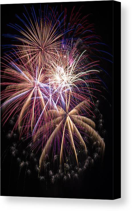Awesome Fireworks Lights Up The Darkness Canvas Print featuring the photograph The Beauty Of Fireworks by Garry Gay