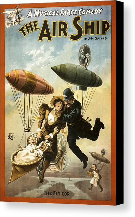 Entertainment Canvas Print featuring the drawing The Fly Cop by Aged Pixel