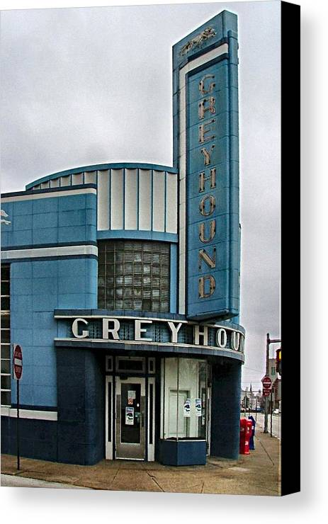 Old Bus Stations Canvas Print featuring the photograph The Greyhound Bus Station by Julie Dant