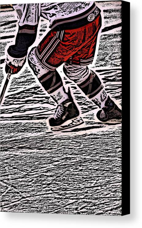 Hockey Canvas Print featuring the photograph The Hockey Player by Karol Livote