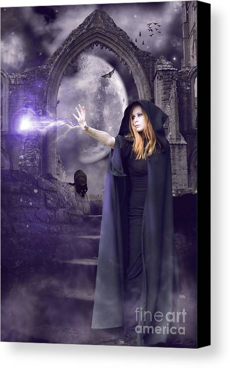 Halloween Canvas Print featuring the digital art The Spell Is Cast by Linda Lees