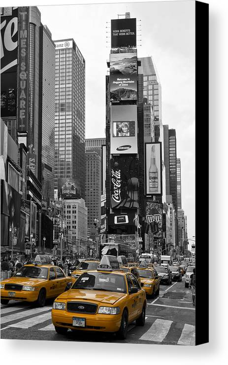 Manhattan Canvas Print featuring the photograph Times Square Nyc by Melanie Viola