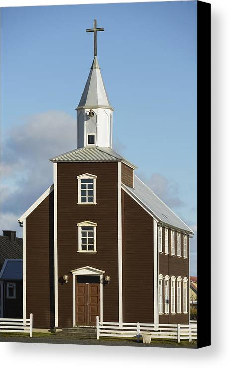 Day Canvas Print featuring the photograph Village Church Of Eyrarbakki by Michael Thornton