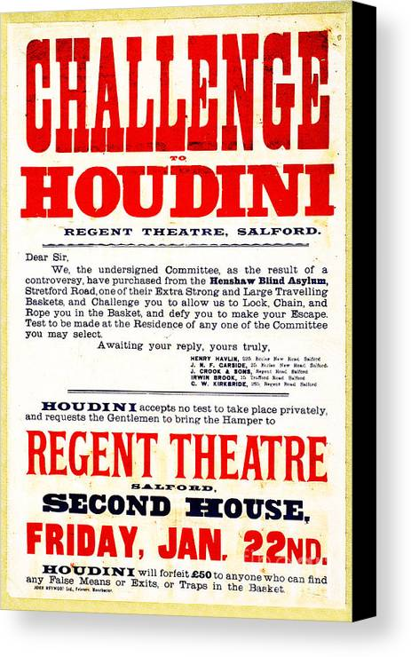 Houdini Canvas Print featuring the photograph Vintage Challenge Houdini Poster by Wingsdomain Art and Photography