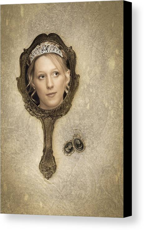 Woman Canvas Print featuring the photograph Woman In Mirror by Amanda Elwell