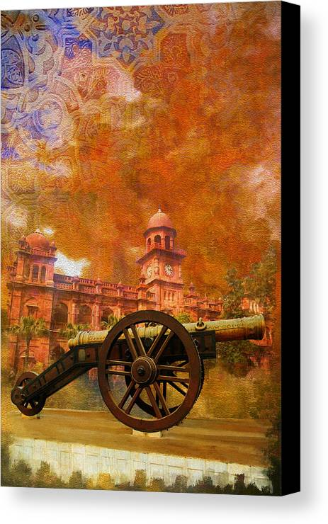 Pakistan Canvas Print featuring the painting Zamzama Tope Or Kim's Gun by Catf