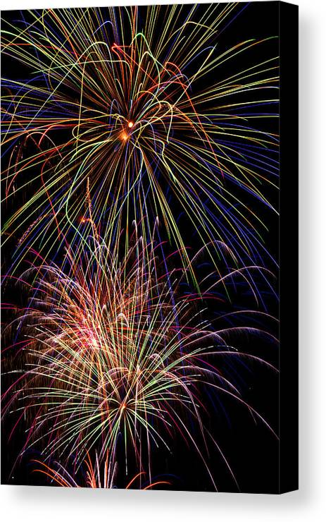 Fireworks 4th Of July Canvas Print featuring the photograph Fireworks Celebration by Garry Gay