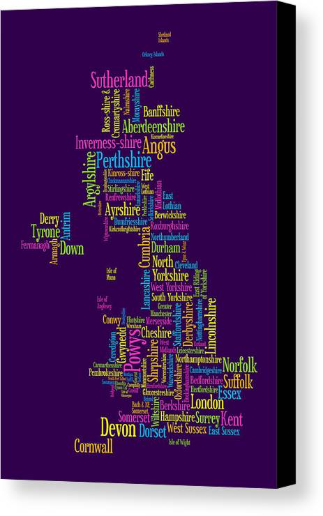 United Kingdom Canvas Print featuring the digital art Great Britain Uk County Text Map by Michael Tompsett