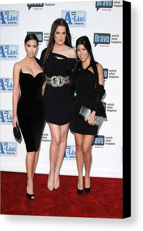 Kim Kardashian Canvas Print featuring the photograph Kim Kardashian, Khloe Kardashian by Everett