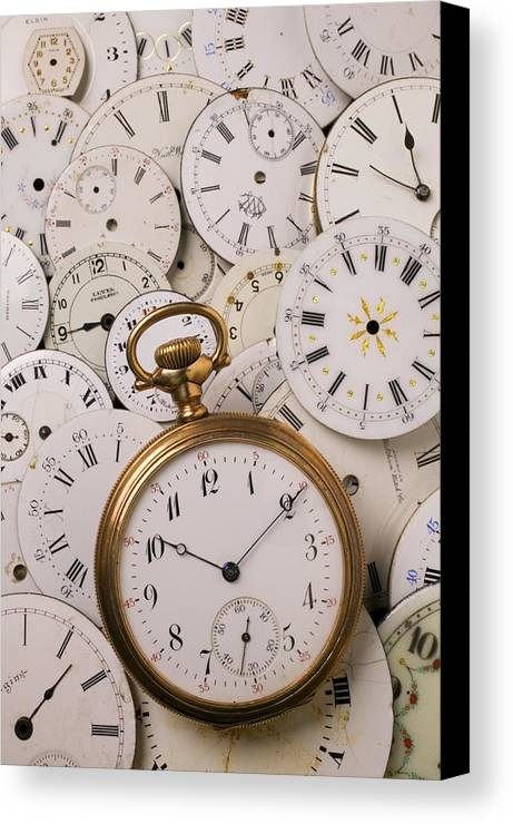 Time Canvas Print featuring the photograph Old Pocket Watch On Dail Faces by Garry Gay