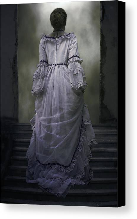 Woman Canvas Print featuring the photograph Woman On Steps by Joana Kruse