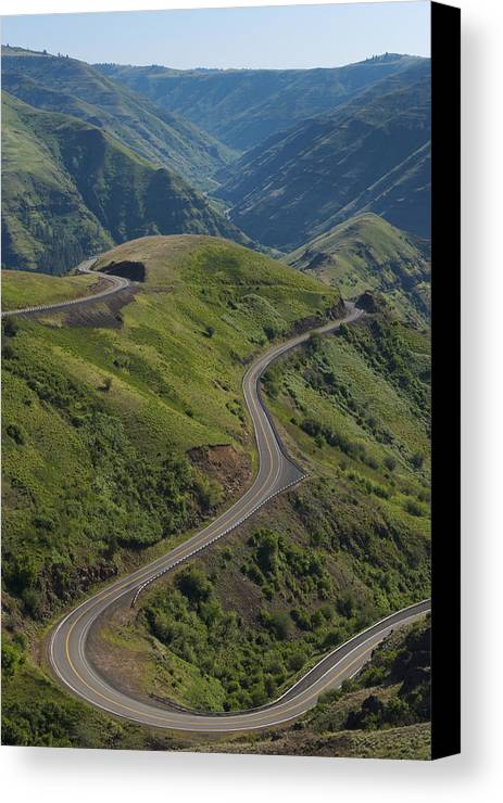 Vertical Canvas Print featuring the photograph Usa, Washington, Asotin County, Mountain Road by Gary Weathers