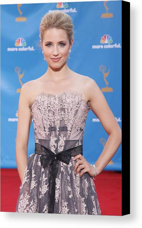 Dianna Agron Canvas Print featuring the photograph Dianna Agron Wearing A Carolina Herrera by Everett