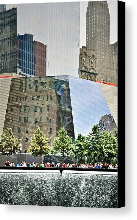 9 Canvas Print featuring the photograph 9/11 Memorial by Gwyn Newcombe
