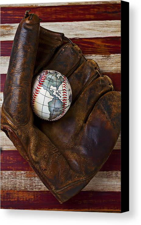 Folk Art American Flag Canvas Print featuring the photograph Baseball Mitt With Earth Baseball by Garry Gay