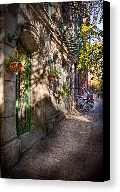 Bike Canvas Print featuring the photograph Bike - Ny - Greenwich Village - The Green District by Mike Savad