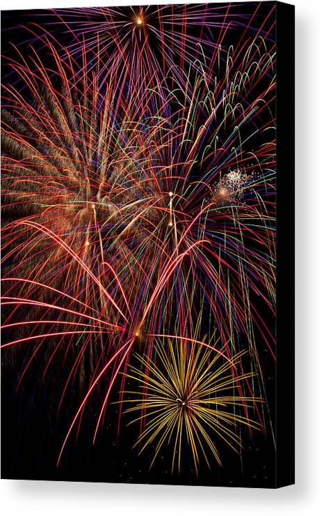 Fireworks 4th Of July Canvas Print featuring the photograph Bright Colorful Fireworks by Garry Gay