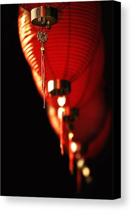 Red Canvas Print featuring the photograph Chinese Whispers by Evelina Kremsdorf