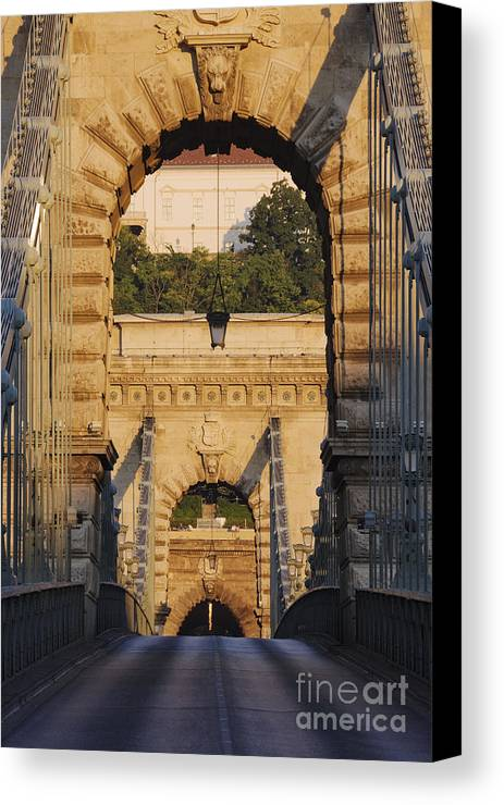 Arched Canvas Print featuring the photograph Empty Stone Bridge by Jeremy Woodhouse