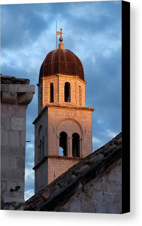 Dubrovnik Canvas Print featuring the photograph Franciscan Monastery Tower At Sunset by Artur Bogacki