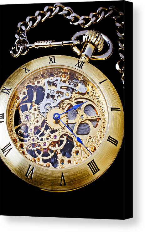 Time Canvas Print featuring the photograph Gold Pocket Watch by Garry Gay
