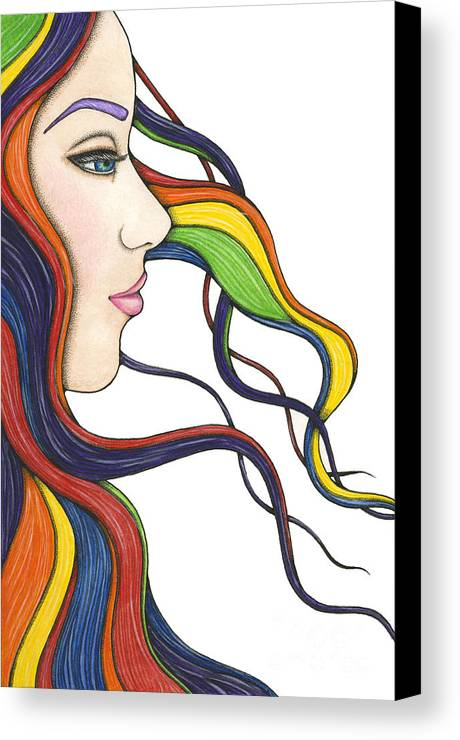 Portrait Canvas Print featuring the painting I Am My Own Rainbow by Nora Blansett