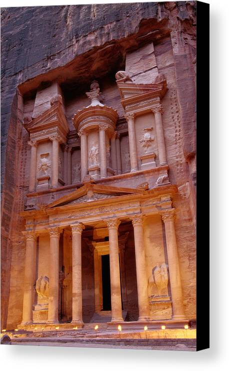 Vertical Canvas Print featuring the photograph Jordan, Petra, The Treasury by Nevada Wier