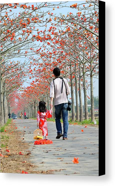 Child Canvas Print featuring the photograph Kapok Road by Frank Chen