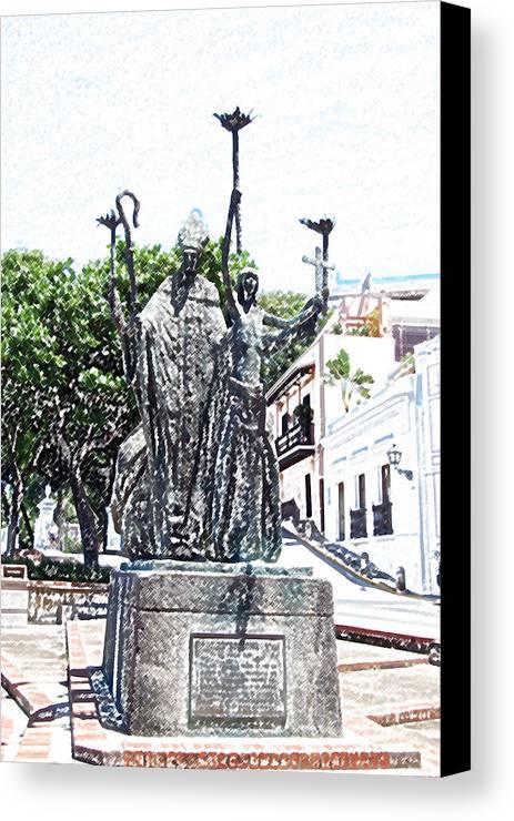 Old San Juan Canvas Print featuring the digital art La Rogativa Sculpture Old San Juan Puerto Rico Colored Pencil by Shawn O'Brien