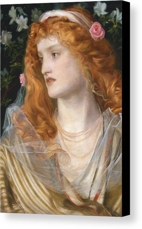 Pre-raphaelite; Victorian; Female; Veil; Auburn; Redhead; Red-haired; Heroine; The Tempest; Shakespeare; Literature Canvas Print featuring the painting Miranda by AFA Sandys