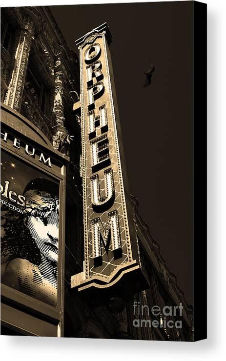 San Francisco Canvas Print featuring the photograph Nightfall At The Orpheum - San Francisco California - 5d17991 - Sepia by Wingsdomain Art and Photography