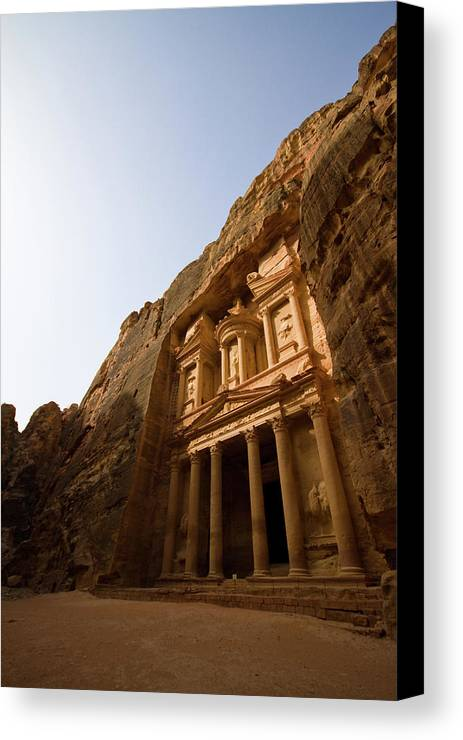 Vertical Canvas Print featuring the photograph Petra Treasury At Morning by Universal Stopping Point Photography