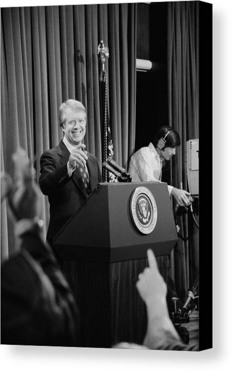 History Canvas Print featuring the photograph President Jimmy Carter Taking by Everett