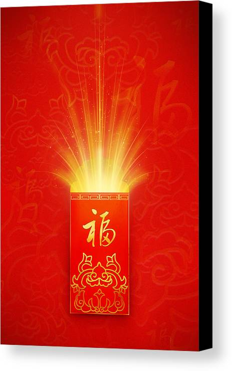 Vertical Canvas Print featuring the digital art Red Pocket For Chinese New Year by BJI/Blue Jean Images