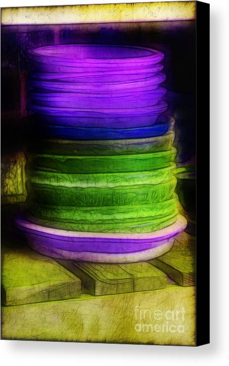 Purple Canvas Print featuring the photograph Stack Of Saucers by Judi Bagwell